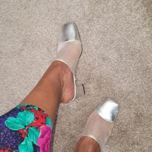 Vintage Silver and Sheer Mules